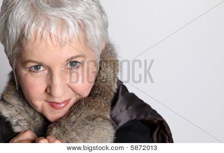 Senior Woman With Fur Collar
