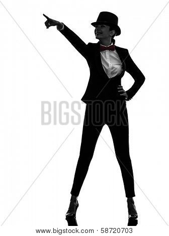 one caucasian woman master of ceremonies presenter pointing in silhouette on white background