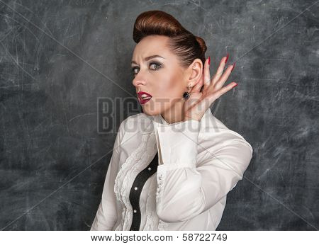 Beautiful Fashion Woman Eavesdropping