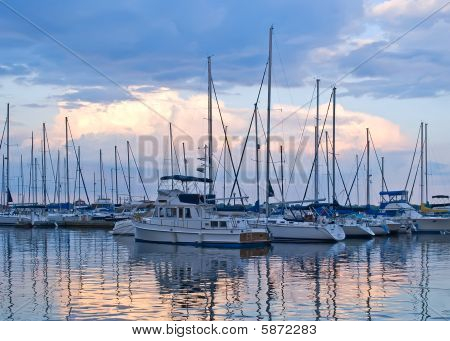 Boats And Yachts Moored In Harbour