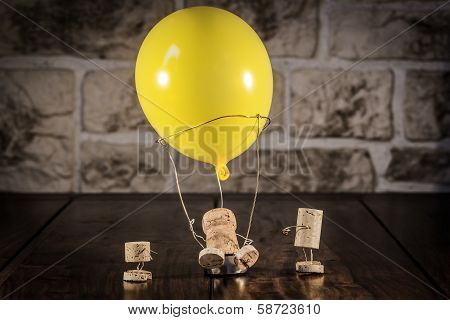 Wine Cork Figures, Concept Hot-air Ballooning