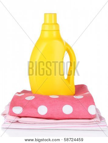 Softener dryer on children clothes isolated on white