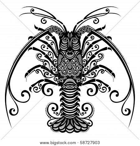 Vector Sea Spiny Lobster