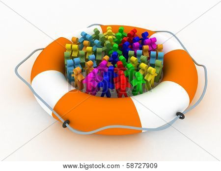 Group of people stay in a lifebelt isolated on a white. Conception of social defence of population