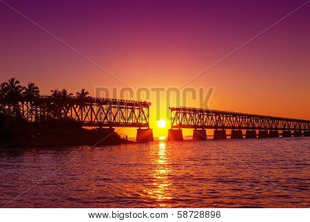 Colorful Sunset At Broken Bridge