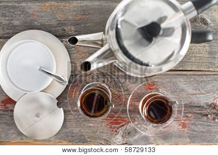 Preparing Cups Of Turkish Tea