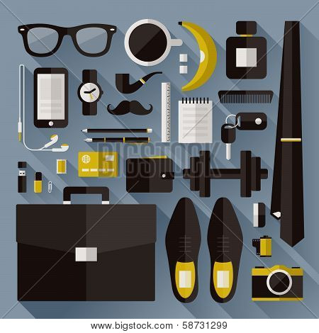 Modern Businessman Essentials. Flat Design Elements With Long Shadow. Vector Illustration