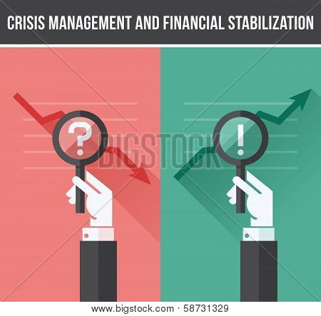 Flat Design Concept Of Analyzing Business Financial And Economic Crisis And Growth. Vector Illustrat
