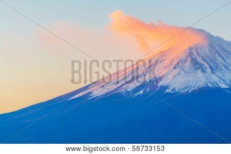 Mountain Fuji in Japan during sunset