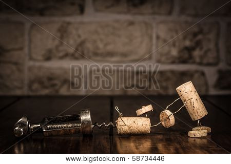 Wine Cork Figures, Concept Escape From A Corkscrew