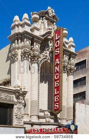 LOS ANGELES, CALIFORNIA - APRIL 10, 2013: Los Angeles Theater is a famous movie palace at 615 S. Broadway built in 1930 in Los Angeles California on April 2013.