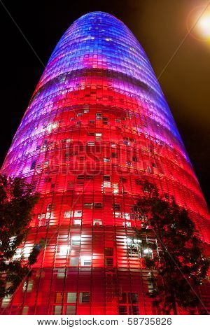 BARCELONA, SPAIN - FEBRUARY 22, 2012: Torre Agbar night shoot, designed by Jean Nouver architect on Technological District of Barcelona, Spain, February 22, 2012.