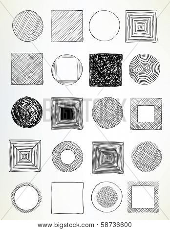 set of hand-drawn circles and squares used for frames, banners, buttons or web design