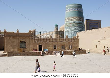 Panorama of the historic city of Khiva with the famous Kalta Minor Minaret