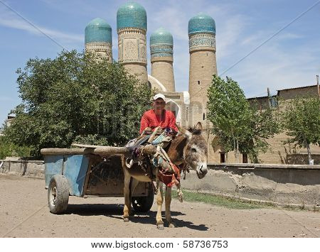 Man with donkey-cart in front of madrassa Chor Minor, Bukhara, Uzbekistan