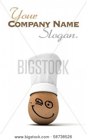 3D rendering of an egg with a painted happy expression wearing a chef�?�¢??s toque