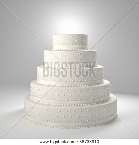 3d image of classic wedding cake