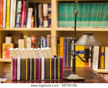 Boxed Books With Lamp And Shelves