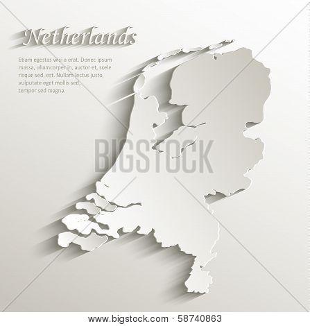 Netherlands Holland map card paper 3D natural vector