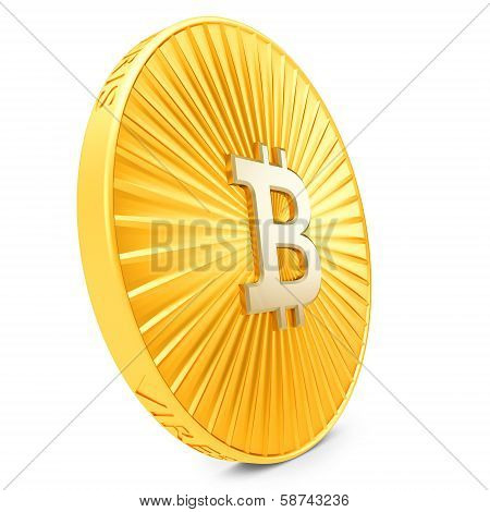 3D Close-up Of Golden Bitcoin Coin, Decentralized Crypto-currency