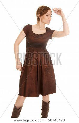 Latin Woman Brown Dress Hand Up