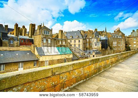Saint Malo City Walls And Houses. Brittany, France.