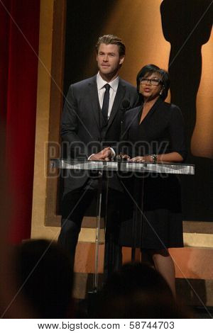 LOS ANGELES - JAN 16:  Chris Hemsworth, Cheryl Boone Isaacs at the 86th Academy Awards Nominations Announcement  at AMPAS Samuel Goldwyn Theater on January 16, 2014 in Beverly Hills, CA