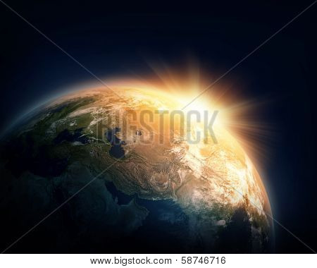 Planet Earth and sun (Nasa imagery)