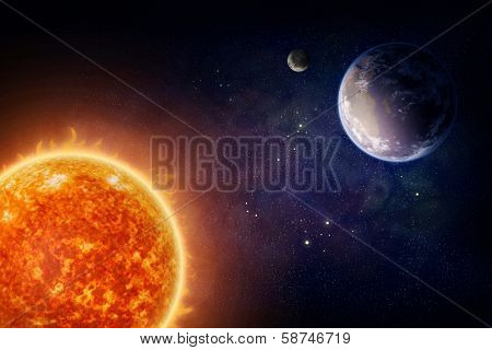 Planet Earth moon and sun (Nasa imagery)