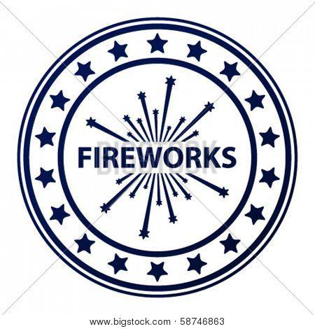 vector fireworks stamp
