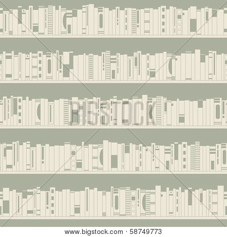 Bookshelf. Seamless pattern.