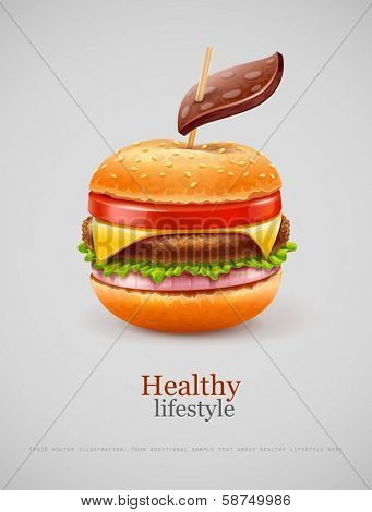 Unhealthy fast food concept with hamburger like apple with leaf.  EPS10 vector illustration