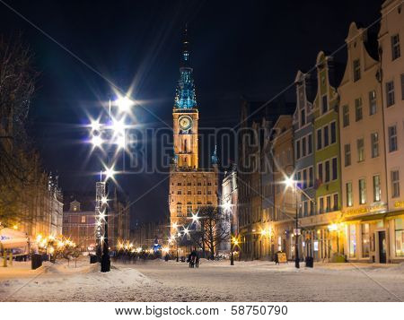 GDANSK, POLAND - February 1, 2014: City Hall Old Town Gdansk Poland Europe
