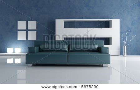 Navy Blue Couch And White Empty Bookshelf