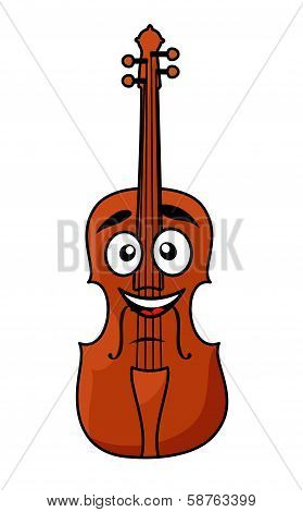 Happy wooden violin with a big smile
