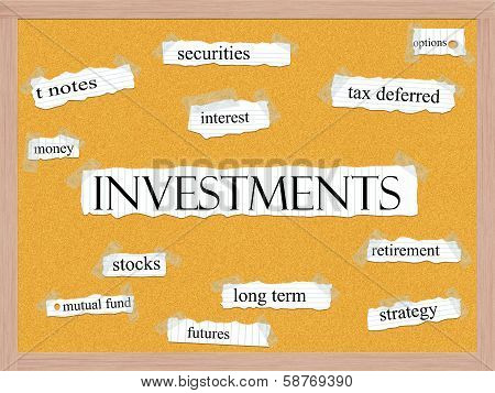 Investments Corkboard Word Concept