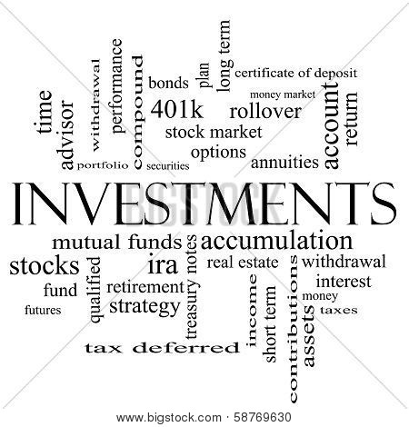 Investments Word Cloud Concept In Black And White