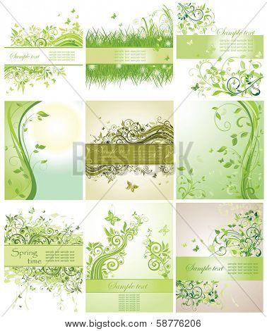 Set of green floral poster
