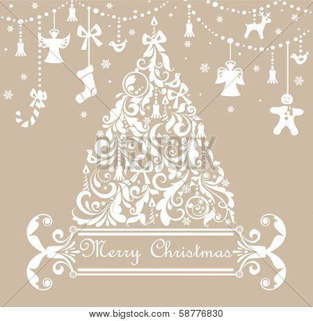 Christmas pastel greeting card