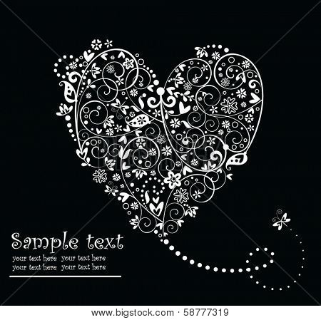 Black and white vintage greeting card with heart shape