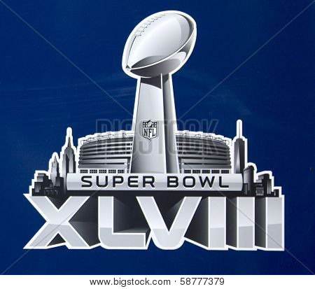 Super Bowl XLVIII  logo presented on Broadway at Super Bowl XLVIII week in Manhattan