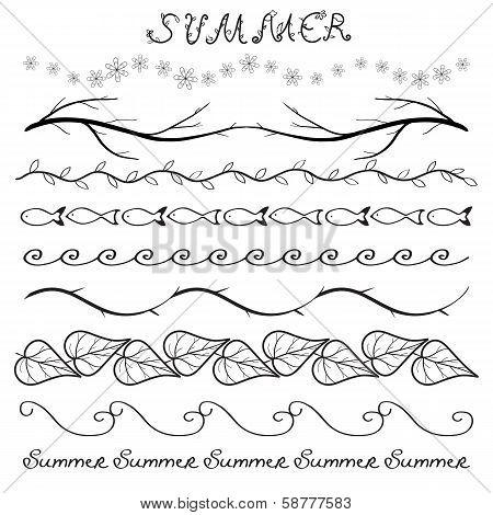 Summer hand drawn border set
