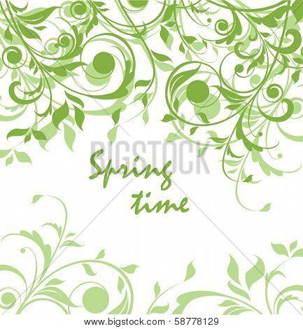 Spring green vintage floral card