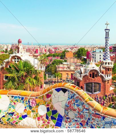 Ceramic mosaic Park Guell in Barcelona, Spain. Park Guell is the famous architectural town art designed by Antoni Gaudi and built in the years 1900 to 1914