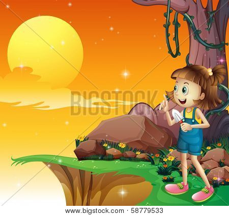Illustration of a young girl near the cliff holding a small shovel
