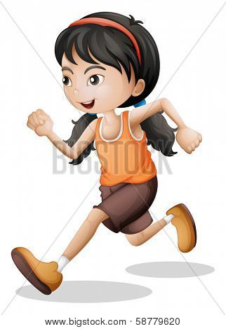 Illustration of a teenager jogging on a white background