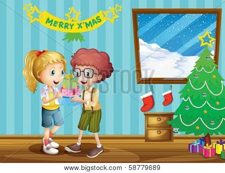 Illustration of the two adorable kids exchanging their christmas gifts