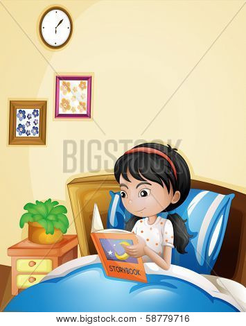 Illustration of a young lady reading a storybook in her bed