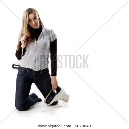 Beautiful Young Woman With Skates