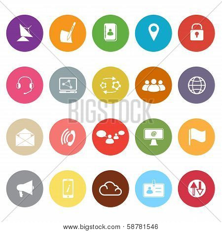 Communication Flat Icons On White Background